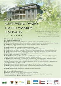 XVIII Kurtuvėnų dvaro teatrų vasaros festivalis